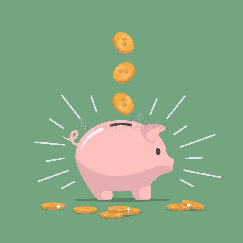 Rosa spargris med fallande mynt piggy sättande sparande för grupppengar Investeringar i framtid stock illustrationer