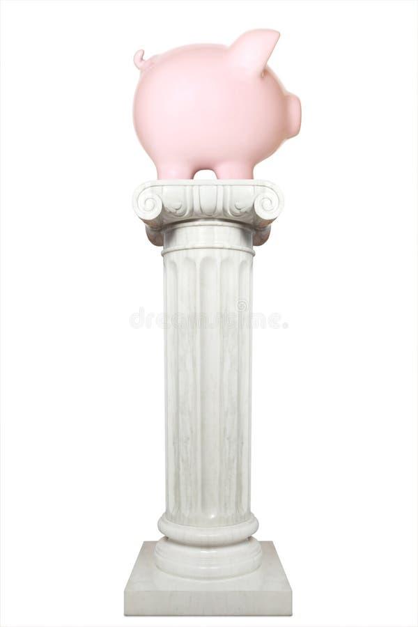 Rosa spargris på den isolerade joniska kolonnen arkivfoto