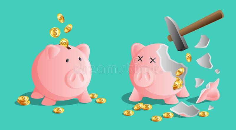 Rosa spargrissymbol och bruten piggy moneybox med kalla mynt och en hammare royaltyfri illustrationer