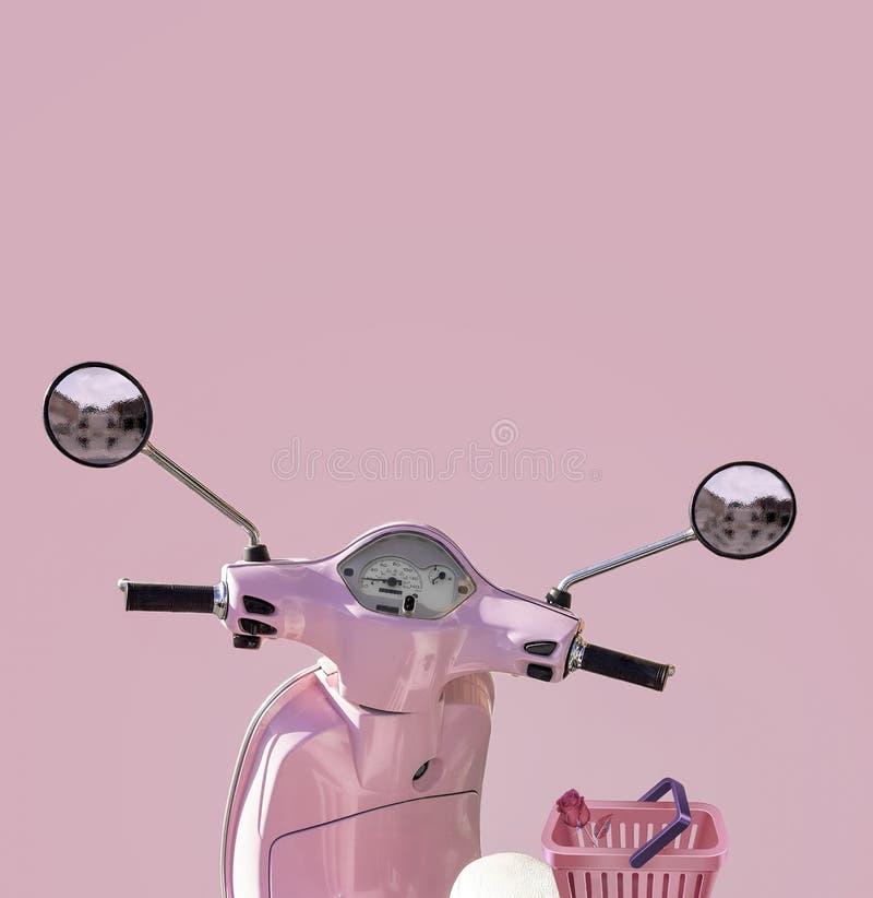 Rosa sparkcykel med en rosa bakgrund royaltyfri illustrationer
