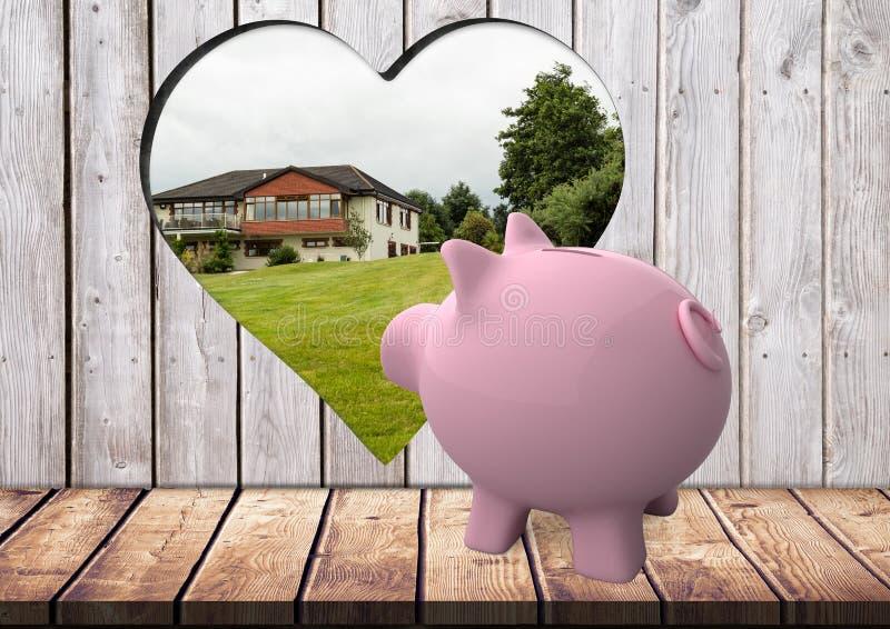 rosa Sparschwein, das vom Loch mit Herzform auf dem Holz schaut, in dem wir ein Haus sehen können stock abbildung