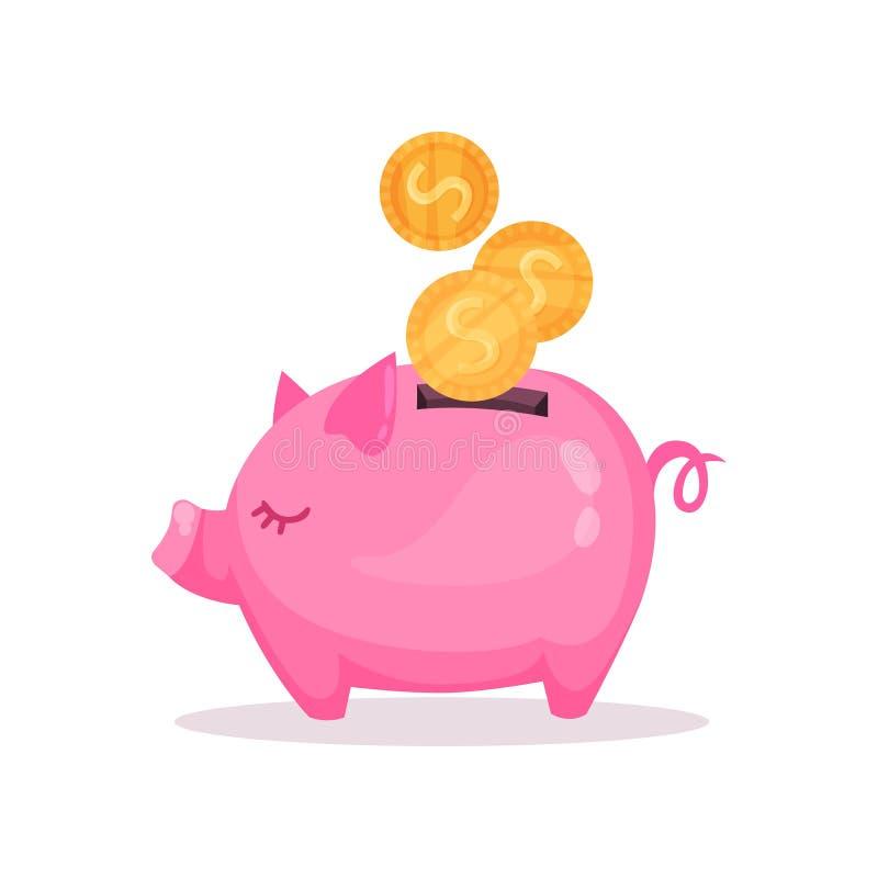 Rosa Sparschwein mit fallenden goldenen Münzen, Einsparung und der Investierung von Geldkonzeptkarikatur-Vektor Illustration lizenzfreie abbildung