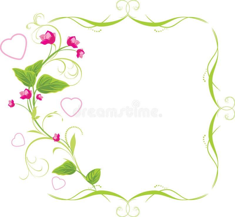 rosa sprig för blommaramhjärtor royaltyfri illustrationer