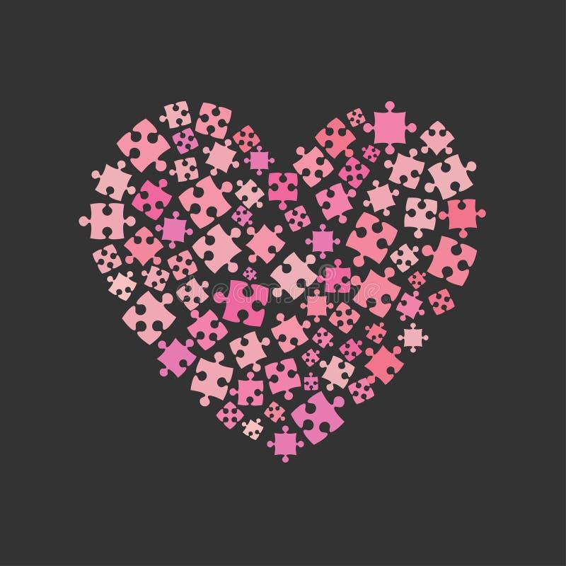 Rosa Stücke verwirren Herz Valentine Day, Liebe lizenzfreie abbildung