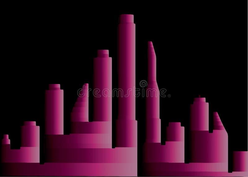 rosa stad 3D på natten royaltyfri illustrationer