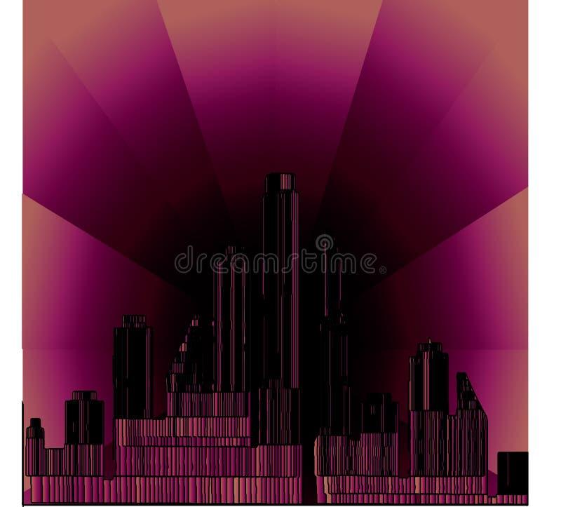 rosa stad 3D på natten vektor illustrationer