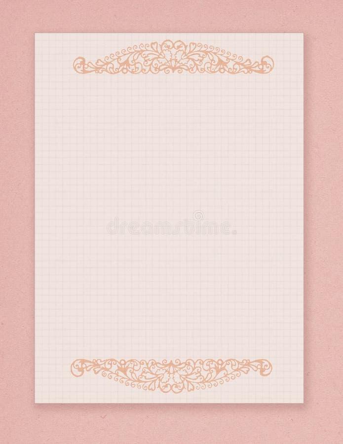 Rosa stationärt för tryckbar stil för tappning sjaskig chic med krusidullsmyckning vektor illustrationer