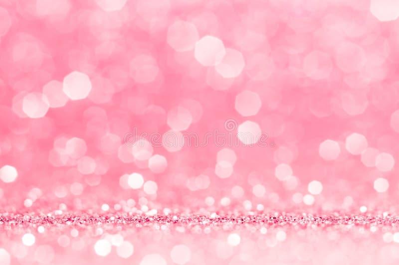 Rosa stieg, rosa bokeh, abstrakter heller Hintergrund des Kreises, Rosa stieg glänzende Lichter, funkelnder funkelnder Valentinsg stockfoto