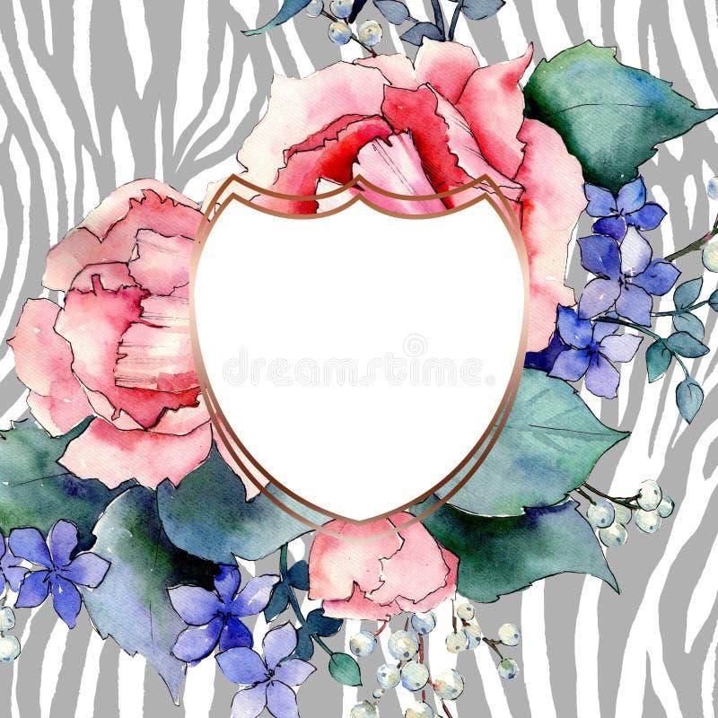 Rosa stieg botanische mit Blumenblumen des Blumenstrau?es Aquarellhintergrund-Illustrationssatz Feldgrenzverzierungsquadrat stock abbildung