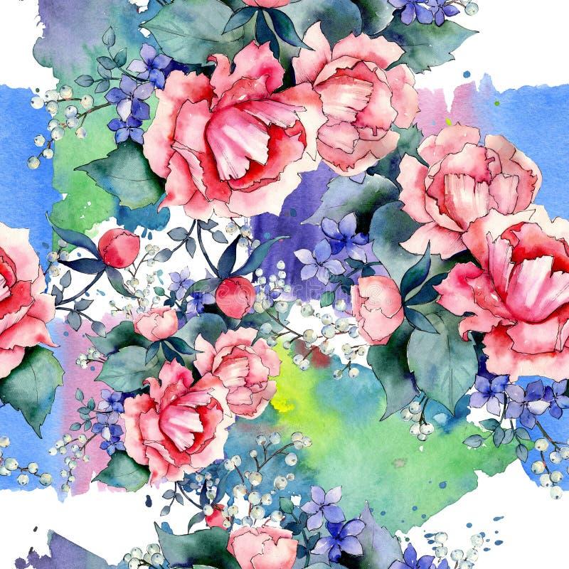 Rosa stieg botanische mit Blumenblumen des Blumenstrau?es Aquarellhintergrund-Illustrationssatz Nahtloses Hintergrundmuster lizenzfreie abbildung