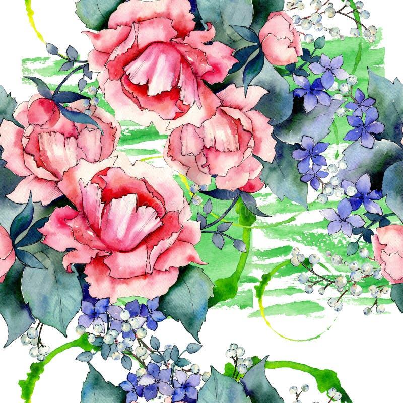 Rosa stieg botanische mit Blumenblumen des Blumenstrau?es Aquarellhintergrund-Illustrationssatz Nahtloses Hintergrundmuster vektor abbildung