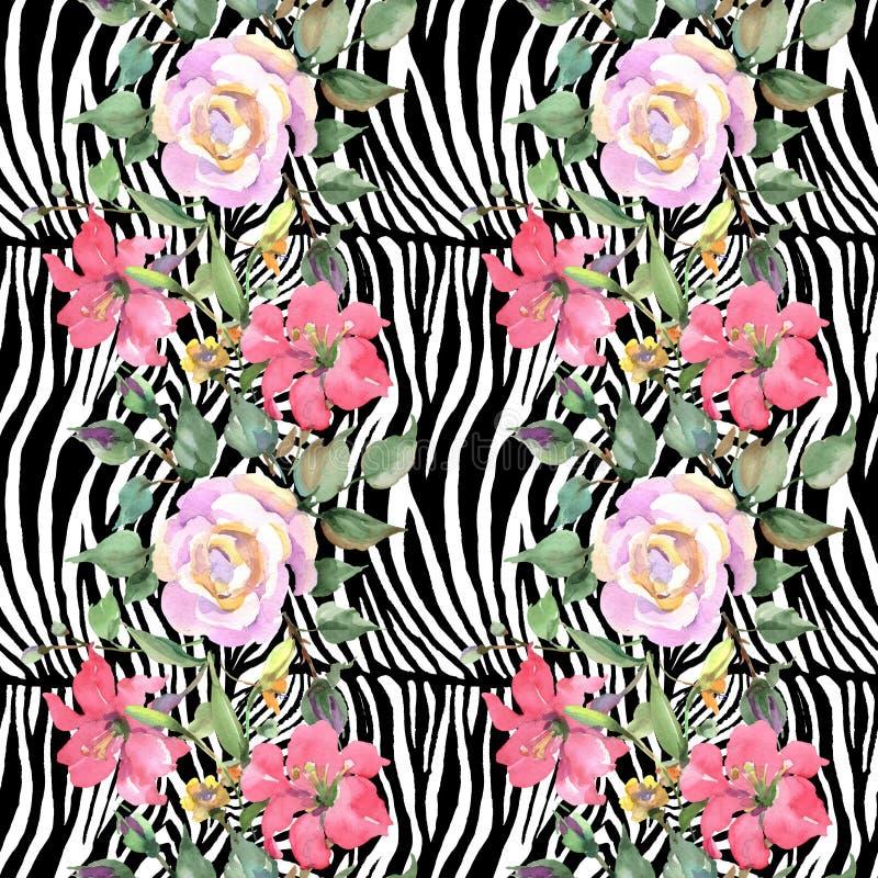 Rosa stieg botanische mit Blumenblumen des Blumenstrau?es Aquarellhintergrund-Illustrationssatz Nahtloses Hintergrundmuster stock abbildung