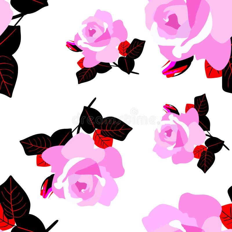 Rosa stieg die Blumen, die auf nahtlosem Muster des weißen Hintergrundes lokalisiert wurden Druck f?r Gewebe lizenzfreie abbildung