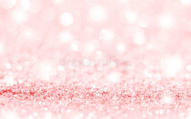 Rosa stjärnor och Bokeh bakgrund arkivfoton