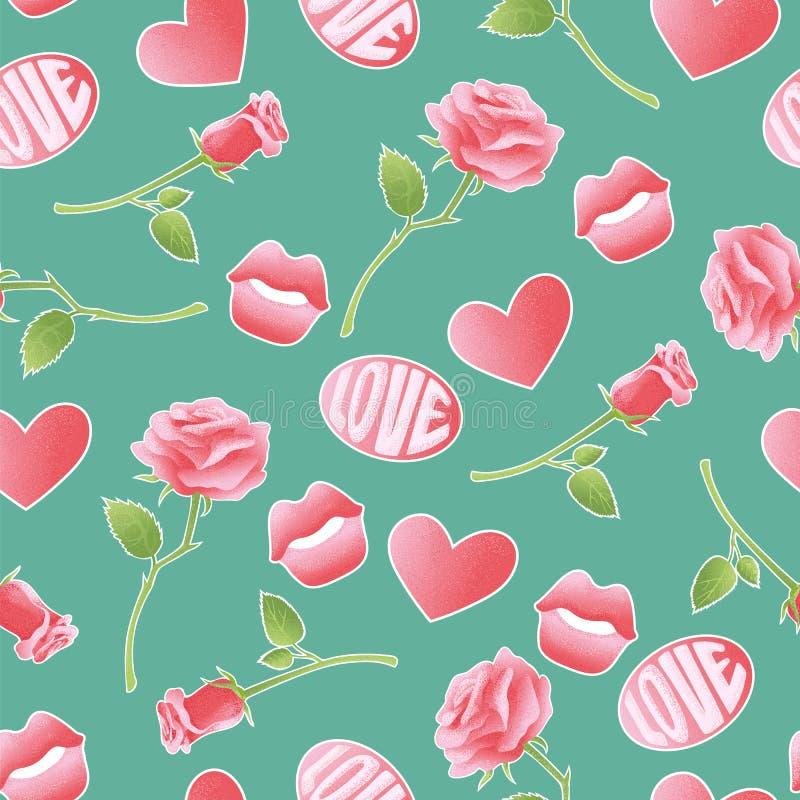 Rosa strukturierte Vektorikonen über Amorousness und Romance Retro- Satzhintergrund des nahtlosen Musters von Aufklebern, Stifte lizenzfreie abbildung
