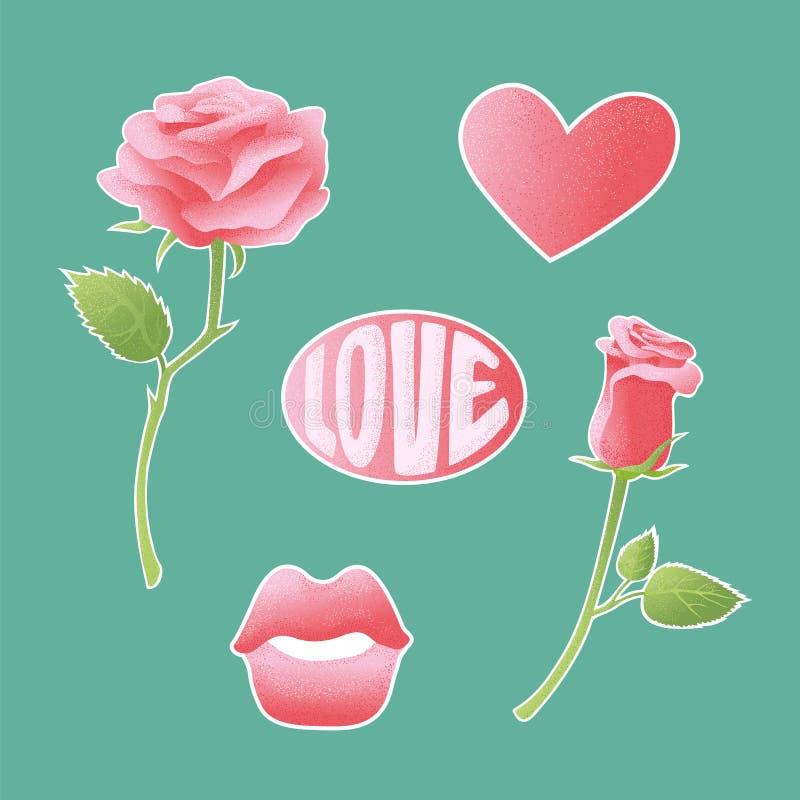 Rosa strukturierte Vektorikonen über Amorousness und Romance Satz Aufkleber, Stifte, bessert Symbole von Liebhabern aus Zeichenau stock abbildung