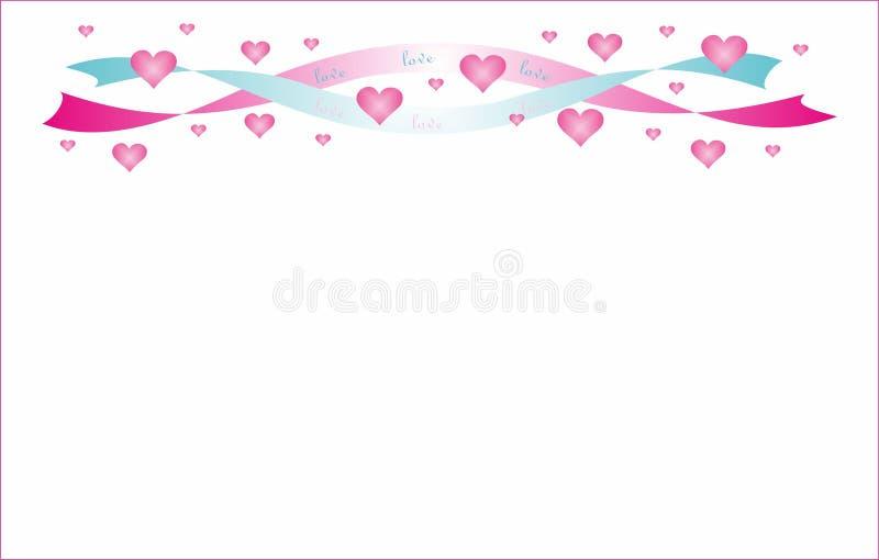 Rosa strumpebandsordenhjärtor till valentindagen stock illustrationer