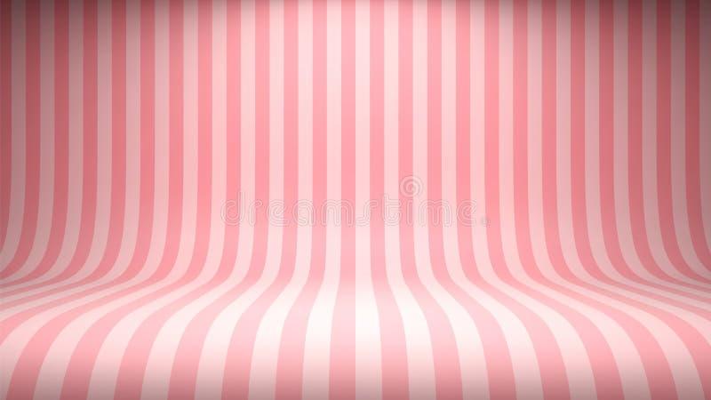 Rosa studiobakgrund för randig godis med tomt utrymme för ditt innehåll vektor illustrationer
