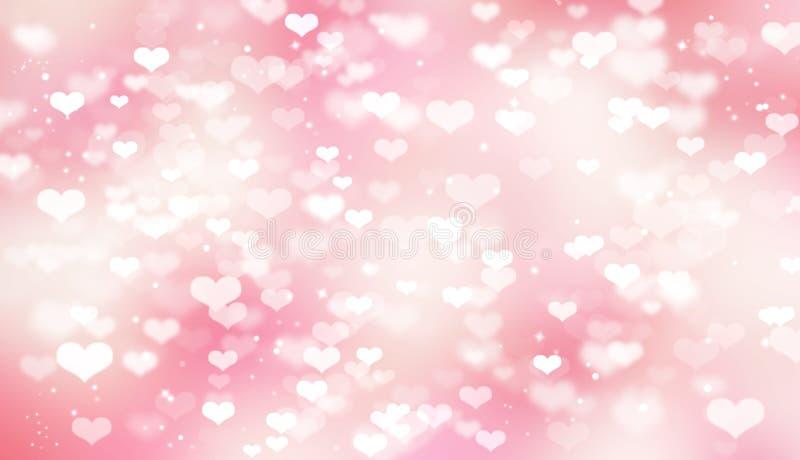 Rosa suddig bokehbakgrund med vita hjärtor, valentin dag, förälskelse, mjukhet, romans stock illustrationer