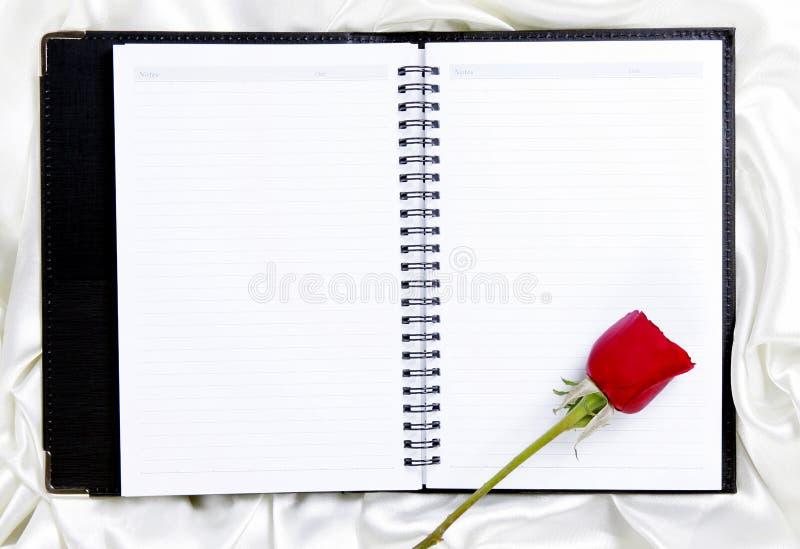 Rosa sul blocchetto per appunti in bianco fotografie stock libere da diritti