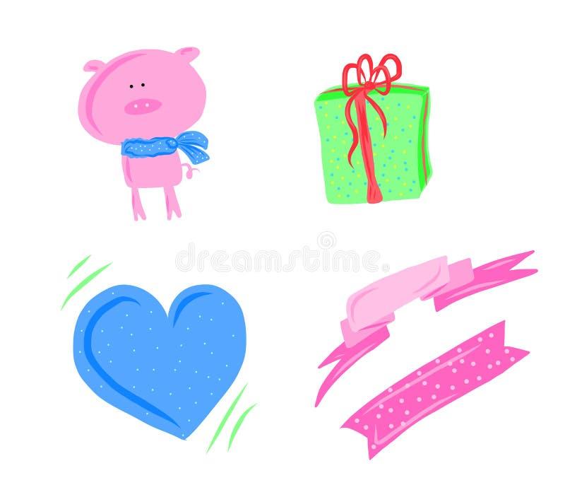 Rosa svin, blå hjärta och gåva med linjer bakgrunder - digital målning för det lyckliga nya året 2019 royaltyfri illustrationer