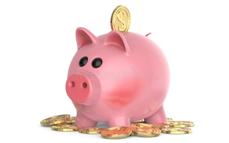 Rosa svinspargris, med myntet som faller in i springa, på högen av mynt 3D framför, isolerat på vit bakgrund royaltyfri illustrationer