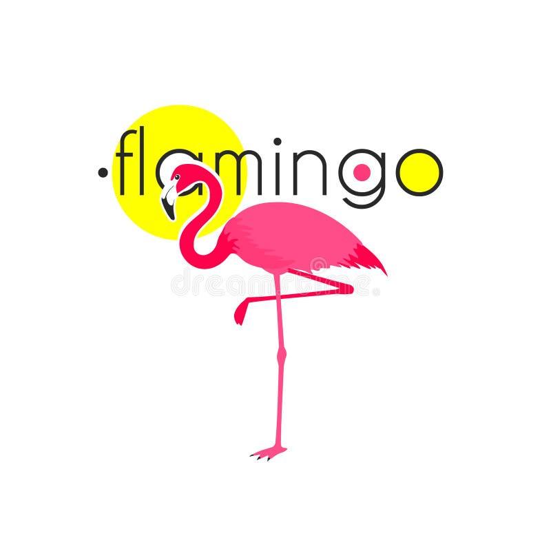 Rosa symbol för lägenhet för flamingosemesterortemblem royaltyfri illustrationer
