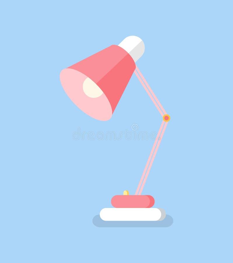 Rosa symbol för tabelllampa, belysningsutrustningvektor stock illustrationer