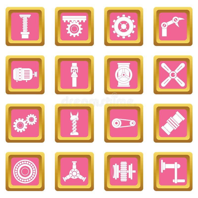 Rosa symboler för Techno mekanismsats royaltyfri illustrationer
