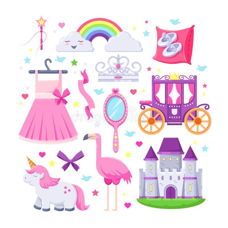 Rosa symbolsuppsättning för liten prinsessa Vektorillustrationen av enhörningen, slotten, kronan, flamingo, flickor klär, regnbåg stock illustrationer