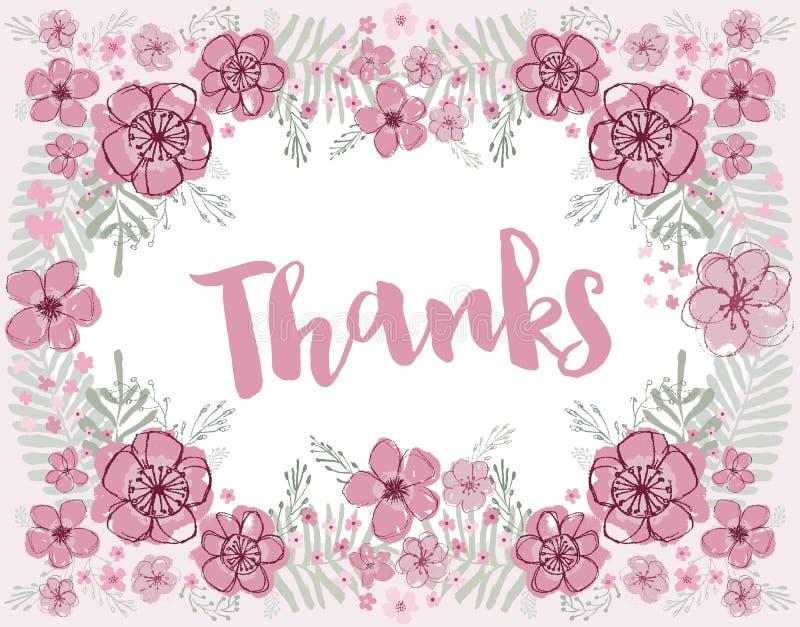 Rosa tackvektor och burgundy blom- krans vektor illustrationer