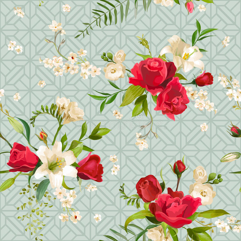 Rosa tappning och Lily Flowers Background Fjädra, och den seamless sommaren mönstrar royaltyfri illustrationer