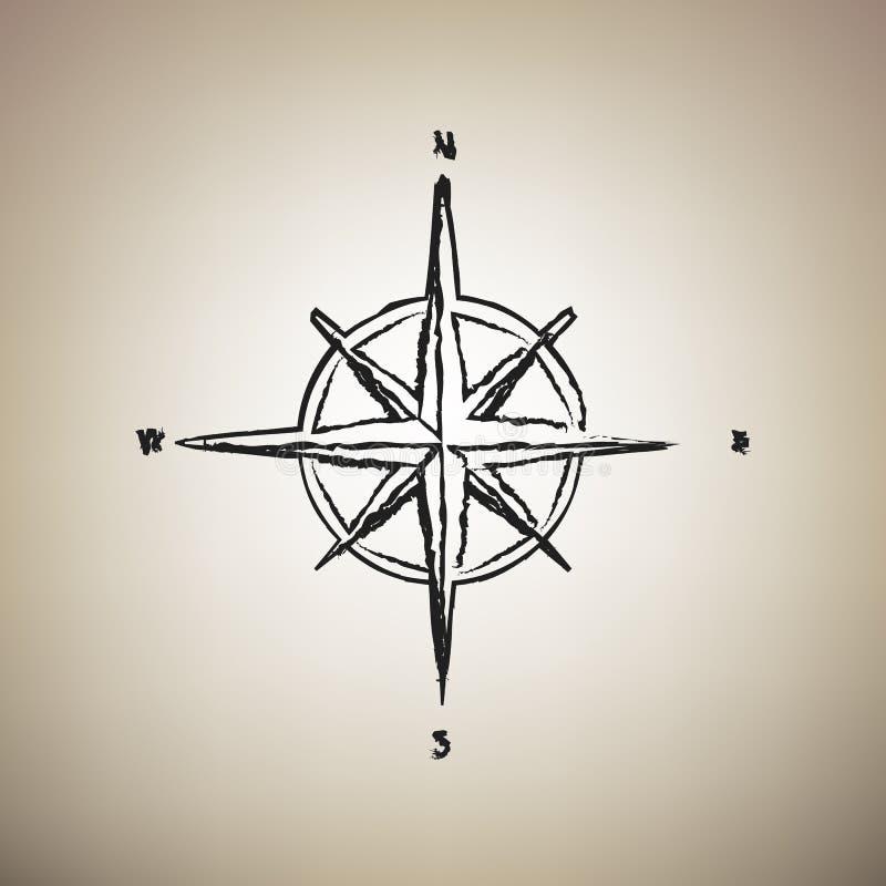 Rosa tecken för vind vektor Borsten drog den svarta symbolen på ljus - brunt b stock illustrationer