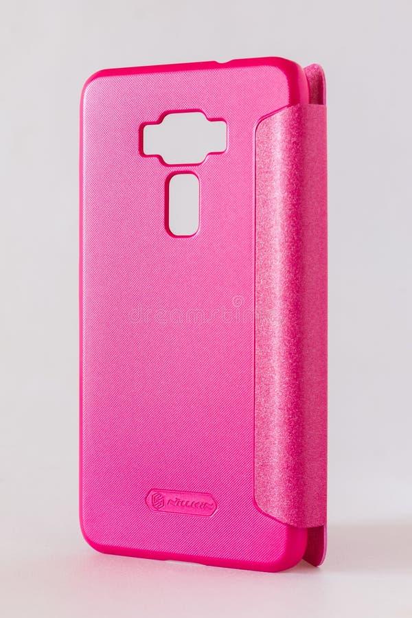 Rosa Telefonkasten stockbild