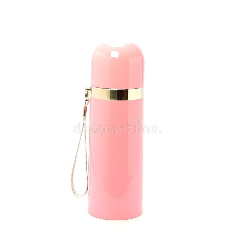 Rosa Thermo Flasche auf dem weißen Hintergrund stockfoto