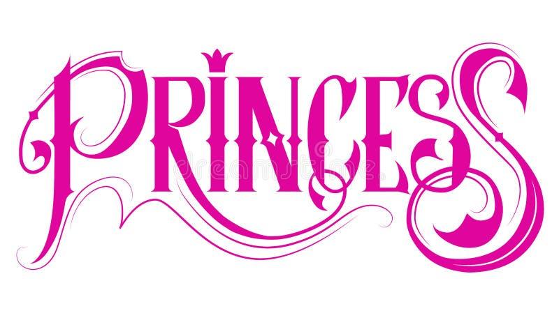 Rosa Titel Prinzessin stock abbildung