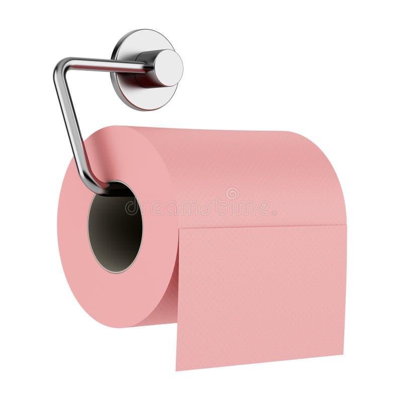 Rosa Toilettenpapier auf dem Halter lokalisiert auf Weiß lizenzfreie abbildung