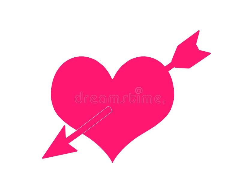 Rosa trängd igenom hjärta vektor för förälskelseingreppstecken lycklig valentin för dag stock illustrationer
