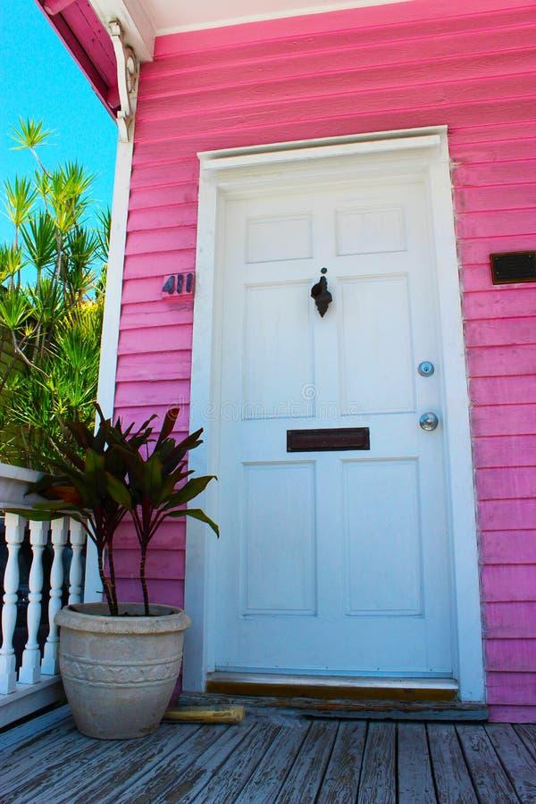 Rosa trumpetsnäckahus med den vita dörren fotografering för bildbyråer