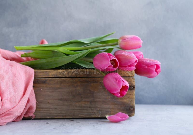 Rosa tulpanbukett för dekor arkivfoton