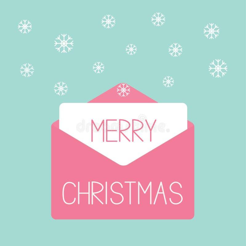 Rosa Umschlag mit Schneeflocken. Liebeskarte. stock abbildung