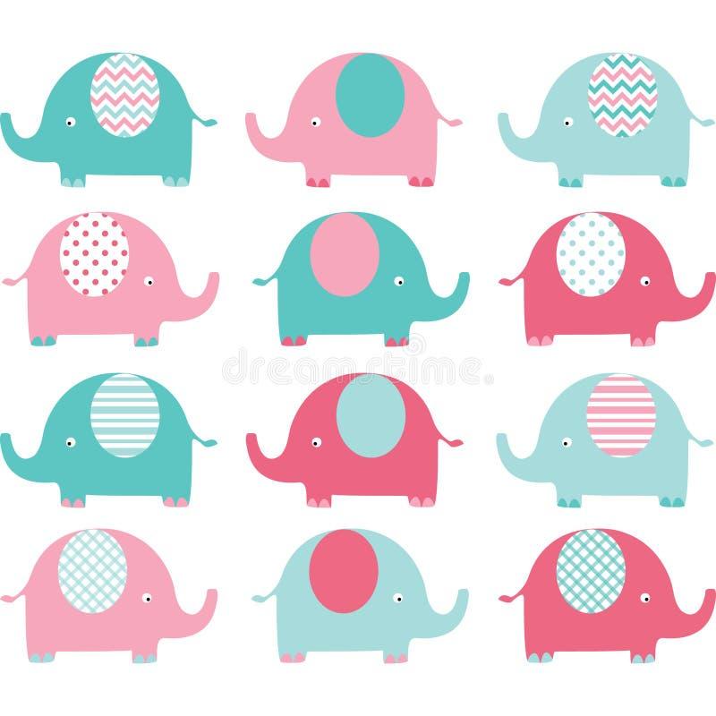Rosa- und Aqua Cute Elephant-Satz lizenzfreie abbildung