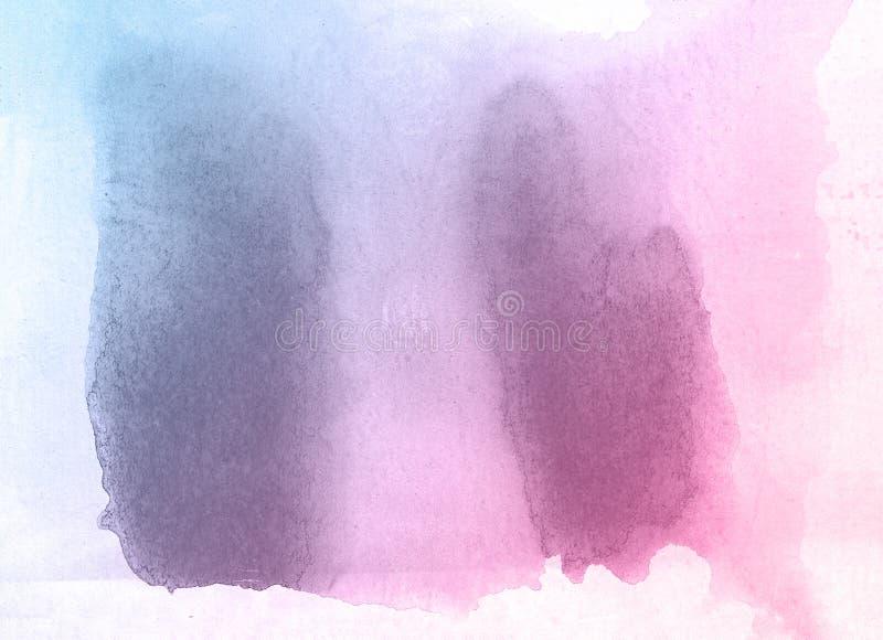 Rosa und Aquarellfarbenhintergrund der blauen Blume kreativer, Einklebebuchskizze beschriftend stock abbildung
