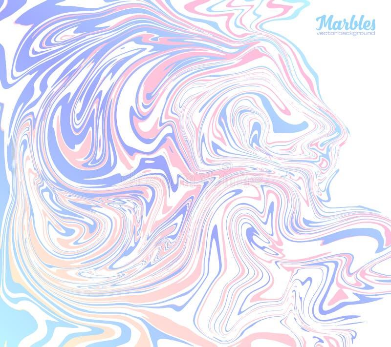 Rosa und blaue modische Farben marmorn abstrakten Vektorhintergrund lizenzfreie abbildung