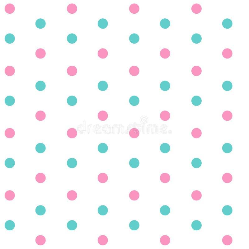Rosa und blaue Punkte auf nahtlosem Pastellmuster V des weißen Hintergrundes stock abbildung