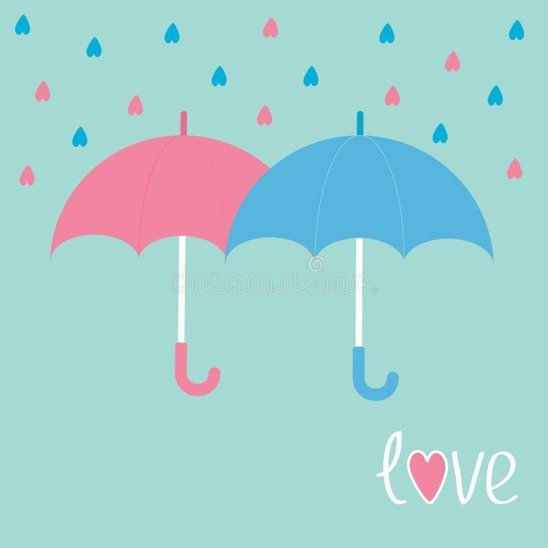 Rosa und blaue Regenschirme. Regen in Form von Herzen. Liebeskarte. vektor abbildung