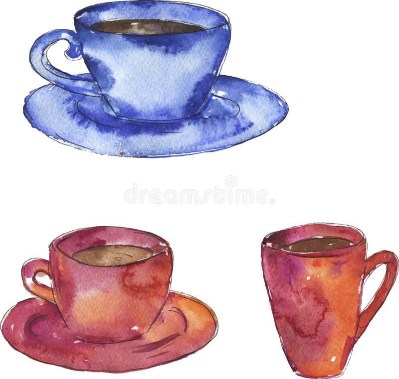 Rosa und blaue Teeschalen übergeben gezogene Aquarellillustration lizenzfreie stockfotografie