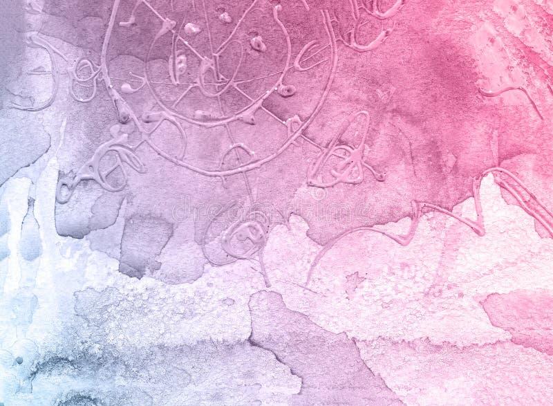Rosa und blauer kreativer Blumenaquarellbeschaffenheitshintergrund, schöner kreativer Planet lizenzfreie stockbilder