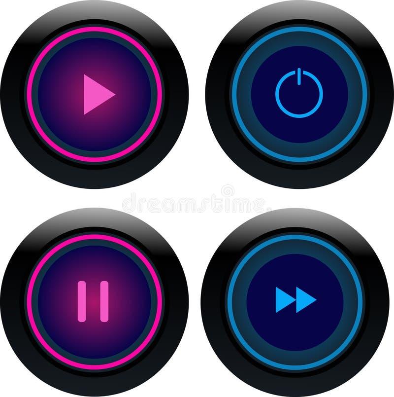 Rosa und blauer runder Spielknopf lizenzfreie abbildung