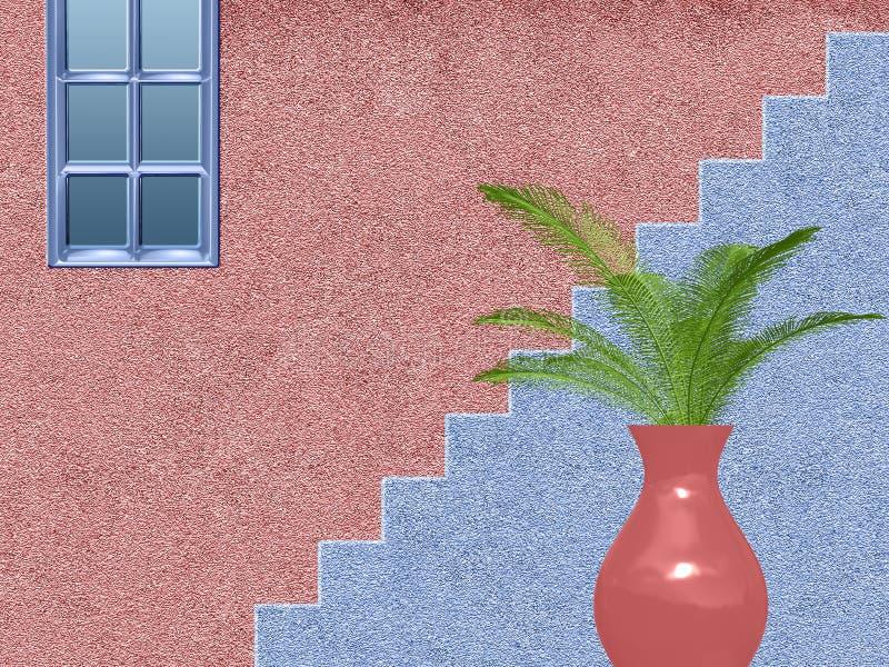 Rosa und blaues Haus mit Treppe vektor abbildung